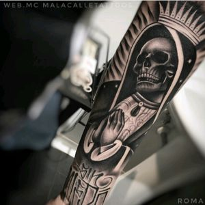 #WebMc SinMiedo #MalaCalleTattoo #Chicano #Realism #BlackandGrey #VirginMary #Skull