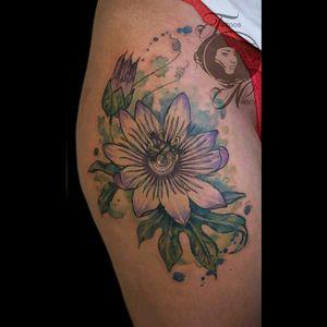 Passionflower #tattoosnancy #nancytattooer #nancytattoos #amsterdamtattoo #tattoodo #watercolor #watercolortattoo #beauty #art #arttattoo #tattooart #equilattera #tattrx #passionflower #flower
