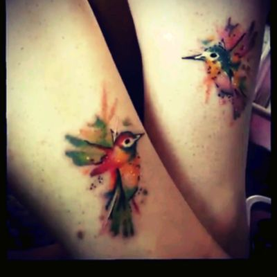 Watercolor hummingbird tattoos for a mother-daughter duo. #motherdaughtertattoo #motherdaughter #watercolor #watercolortattoo #bird #hummingbird #hummingbirds #love