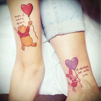 """""""Even if we're apart, I'll always be with you."""" Mother-daughter tattoos with Winnie-the-Pooh and Piglet. #motherdaughtertattoo #motherdaughter #love #poohbear #winniethepooh #poohandpiglet #disneytattoo #disney #heart #hearts"""
