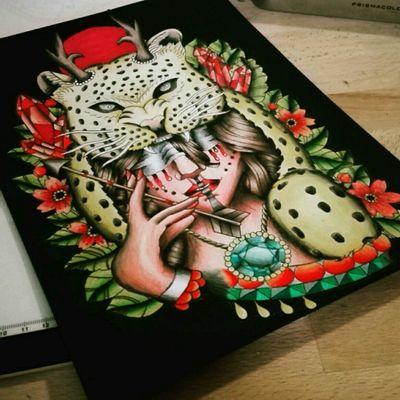 #ink #inked #tattoo #tatouage #sketch #sketchbook #colortattoo #neotraditional #womenfacetattoo #leopard #bigcat #flowertattoo