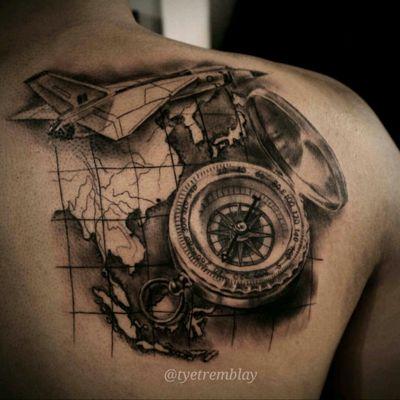 #travel #compass #airplane #wanderlust #map #blackandgrey #realism