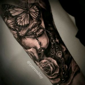 #ladyface #butterfly #rosary #rose #blackandgrey #realism