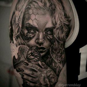 #ladyface #butterfly #surreal #portrait #blackandgrey #realism