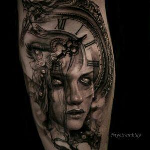 #surreal #clock #eye #ladyface #morph #blackandgrey #realism