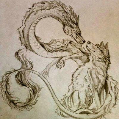 <3 #Psichovision #SpiritedAway #Wolf #Dragon #Haku #Japo