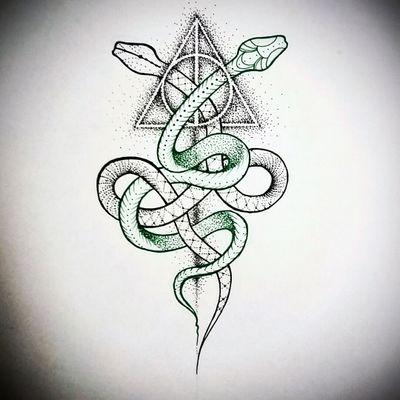 S n a k e s #snakes #harrypotter #deathlyhallows #symbol #dotwork #dotworkflash #dotworktattoo #tattooflash #flash #tattoo #tattooart #ink #inkaddict #krakentattoo #bythebloodyhand