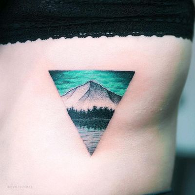 By #evgenymel #mountains #forest #landscape #water #triangle