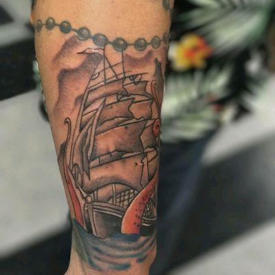 Tattoo done by @philltattz #color #colortattoo #ship #shiptattoo #kraken #krakentattoo #sailor #professionaltattooartist #orangecounty