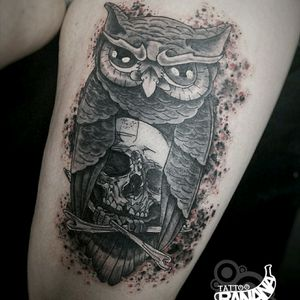 Owl #tattoobanana #tattoo #tattoos #tatts #bodyart #inked #thurles #ink #tattoolovers #tatuaze #worldfamousink #sabretattoosupplies #irelandtattoostudio #tattooprime  #owltattoo #blackandgrey #