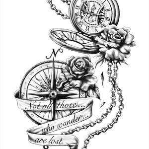 #compass #tattoo #ink #future #royalty #NextGeneration #rose #timeflies #time