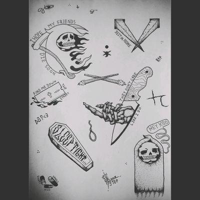 Death/Suicide Flash #flashcard #death #grimreaper #reaper #nail #nails #coffinnails #coffin #razor #pills #torches #knife #blade #skeleton