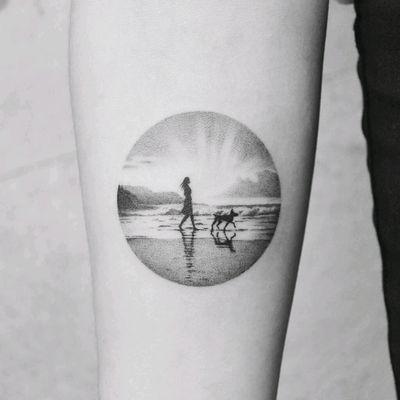 By #amanda_piejak #landscape #beach #ocean #dog #blackwork #dotwork