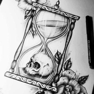 #inkedup #hourglass #skull #art #blackandgray #onlyblackart #time #ink