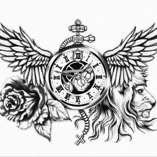 #thelionsareback #king #liontatto #rose #inkedup #tattoodesign #blackandgray #time #clocktattoo