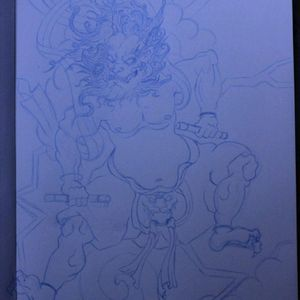 Raijin's sketch  #raijin #tattoodesign #tattooboy #tattoogirl #tatts #tattooist #japan #japanese #sketch #drawing #traditional #ink #mythology