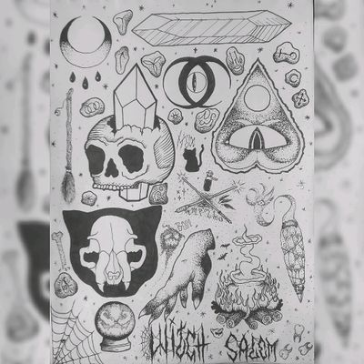 Witch flash. #flashtattoo #tattoos #skull #crystal #moon #wicca #witch #cat #skull #hand #spell #brew #pot #sage #ouija #wand #crystalball #runes #broom #spirit #dotwork #blackwork #magic #curses