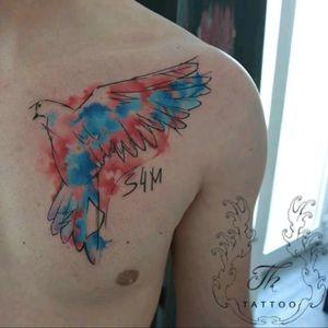 Tatuaj porumbel watercolor/ Memorial watercolor tattoo. #Watercolortattoo #tatuaje #tattoos #dovetattoo
