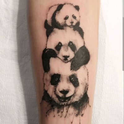 Panda familys #tattoo #ink #inked #panda #illustration #blackwork