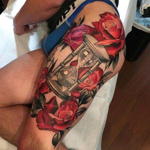 #rose #hourglasstattoo #tattoo #redbaronink