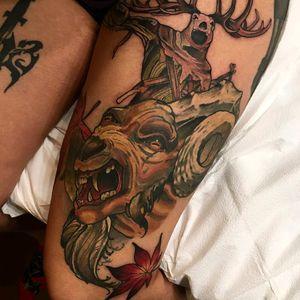 #demonic #goat #thigh #tattoo #redbaronink