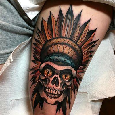 #skull #nativeamerican #tattoo #redbaronink
