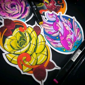 #newschooltattoo #fish #roses #colorfully