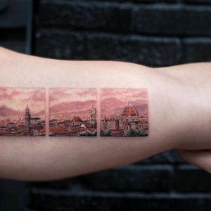 By #evakrbdk  Beautiful tattoo, beautiful place  #florence #italy #triptych #landscape #detailtattoo #minimalism