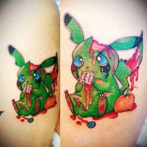 #newschooltattoo #pikachu #zombietattoo #color #arttattoo