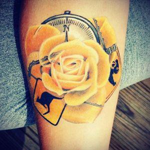 #rose #watercolor #yellow #orange #koala #kangaroo #compass #wildatheart tattoos hop #brisbane  #Australia  #james