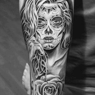 #dayofthedead #tattoodesign #blackandgray #ink #future #inked #blackandgraytattoo #sugerskull #girl #beautiful