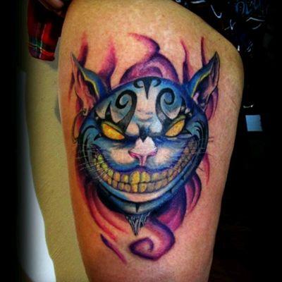 #cat #alicemadnessreturns #gato #aliceinwonderland #originalart #fullcolor #tattoo #newschool #familiaunidatattoo