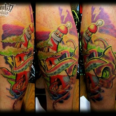 #flare #faro #kraken #newschool #tattoo #originalart #fullcolor #tatuaje #familiaunidatattoo