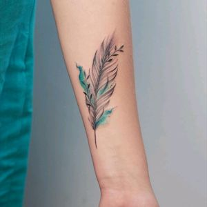 By #annabotyk #feather #watercolor #leaves #watercolortattoo #nature