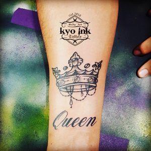 #tattoocrown #tattoolettering #tattooblackandgrey #kyoinktattoo