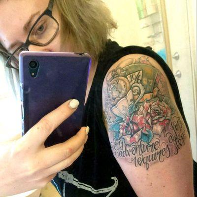 My Alice in Wonderland tattoo all healed. I love it so much! #tattoo #tattooed #AliceinWonderlandtattoo #aliceinwonderland #inkmastermaterial #amazing #girlswithtattoos #inkedgirls #loveit #skinart #tattoodo #inkmaster