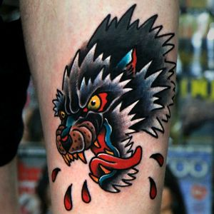 Old school wolf on my left thigh... One of my favourite tattoos!  Follow me on Instagram 1tombrennan Artist: @siho_tattooist at @Inkholic   #traditional #wolftattoo #oldschool #oldschooltattoo #thightattoo #thigh