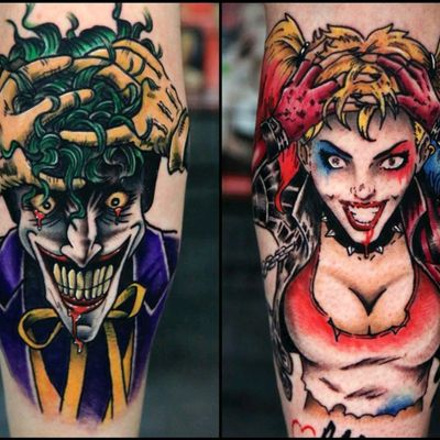 Crazy love (isn't it always) my two calf tattoos...the Harley one was a present from my parents for my birthday :) above them now it reads crazy love but this picture was taken before ... Follow me on Instagram 1tombrennan Artist @siho_tattooist at @Inkholic #thejoker #harleyquinn #dccomics #dc #neotraditional #neotraditional #realism #batman #oldschool #oldschooltattoo #calftattoo #legtattoo
