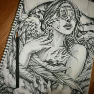 Unknown artist #Angel #Drawing #Realism #Grey