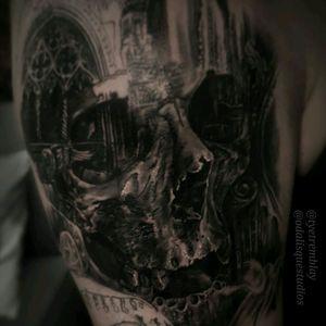 #inprogress #skull #cathedral #architecture #blackandgrey #realism