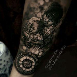 #daughter #son #children #kids #family #tattooedparent #portrait #clock #blackandgrey #realism