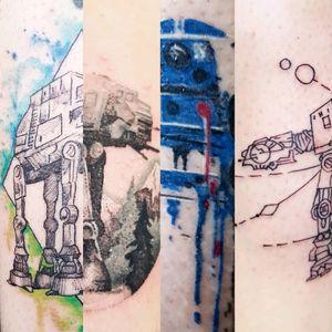 1 family, 2 days, 4 Star Wars tattoos! #starwars #starwarstattoo #atat #atattattoo #r2d2 #worldfamousink #spektradirekt2