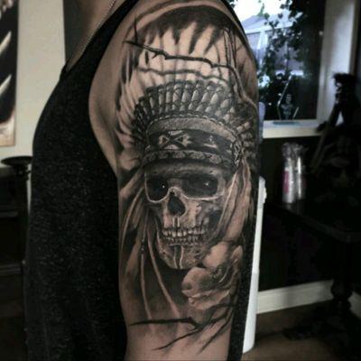 @derekdereksan #Realism #BlackandGrey #Skull #Native