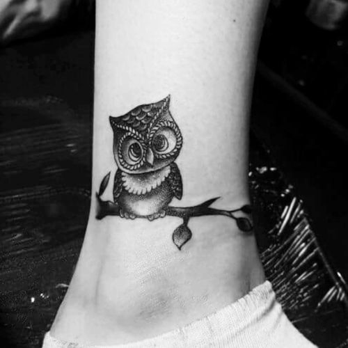 My first tattoo of an owl on a branch 😊 done at the next level tattoo studio in weston-super-mare