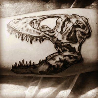 #dinosaur #dino #fossiltattoo #blackandgrey