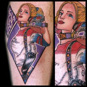 Harley #tattoo #inked #skinandink #picoftheday #inkmaster #tattoosnob #lasvegas #lasvegastattoo #veganfriendly #walkinswelcome #lasvegastattooshop #dccomics #dccomicstattoo #batman #batmantattoo #harleyquinn #harleyquinntattoo