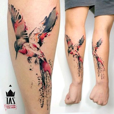 By #RodrigoTas #watercolor #bird #hummingbird #watercolortattoo