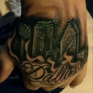 Dallas skyline #dallastattooartist #dallasskyline #hand #tattoos #gangster #