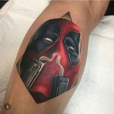 Deadpool portrait done by Mikey Lo at Boundless Tattoo Company. The first portrait on my Marvel leg sleeve. #MikeyLo #BoundlessTattooCompany #BTC #Deadpool #deadpooltattoo #MarvelComics #MarvelTattoos #ComicTattoos #superhero #SuperheroTattoos #LegSleeve