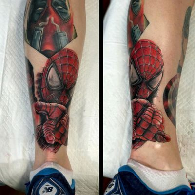 Spiderman by Mikey Lo at Boundless Tattoo Company. The fifth portrait on my Marvel leg sleeve since January. #MikeyLo #BoundlessTattooCompany #BTC #captainamerica #captainamericatattoo #Deadpool #deadpooltattoo #spiderman #spidermantattoo #Avengers #AvenegersTattoo #xmen #XMenTattoo #MarvelComics #MarvelTattoos #ComicTattoos #superhero #SuperheroTattoos #LegSleeve